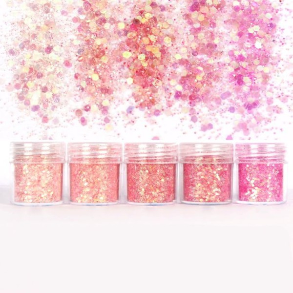 5pcs Rose, Mélanger Ensemble, Nail Art Glitter Powder Hexagone Kit de Cheveux, Manucure Maquillage p - Photo n°1