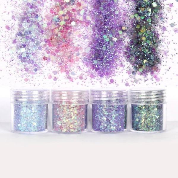 4pcs Lilas Pourpre, Violet, Mélanger Ensemble, Nail Art Glitter Powder Hexagone Kit de Cheveux, Manu - Photo n°2