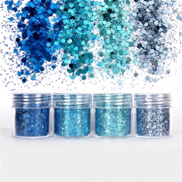 4pcs Ciel Bleu Turquoise, Mélanger Ensemble, Nail Art Glitter Powder Hexagone Kit de Cheveux, Manucu - Photo n°2