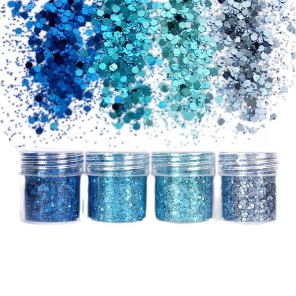 4pcs Ciel Bleu Turquoise, Mélanger Ensemble, Nail Art Glitter Powder Hexagone Kit de Cheveux, Manucu - Photo n°1