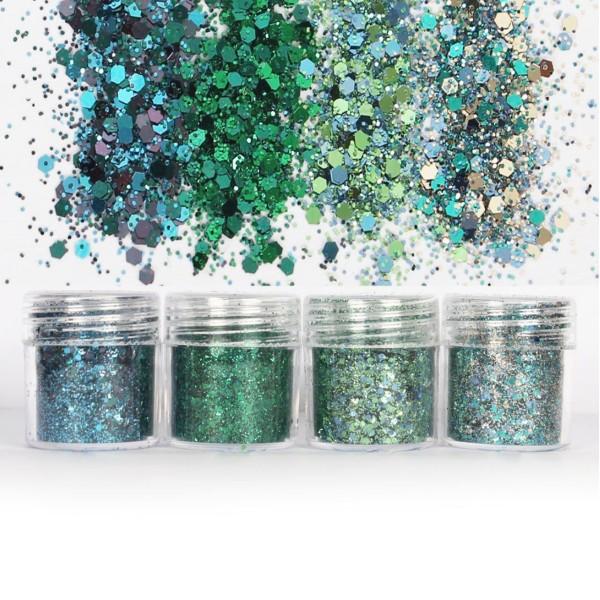 4pcs Turquoise Bleu-Vert à la Menthe, Mélanger Ensemble, Nail Art Glitter Powder Hexagone Kit de Che - Photo n°1