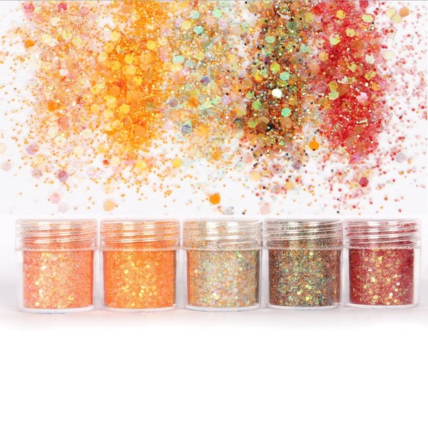 5pcs AB Iris Orange de l'Automne, Mélanger Ensemble, Nail Art Glitter Powder Hexagone Kit de Cheveux - Photo n°1