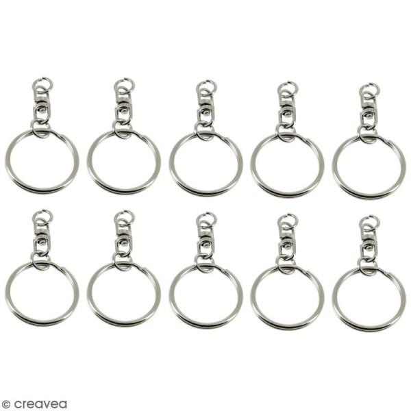 Anneaux de porte clés avec chaînette - 10 pcs - Photo n°1