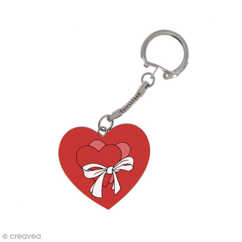 Porte clés Coeur en bois à décorer - Photo n°3