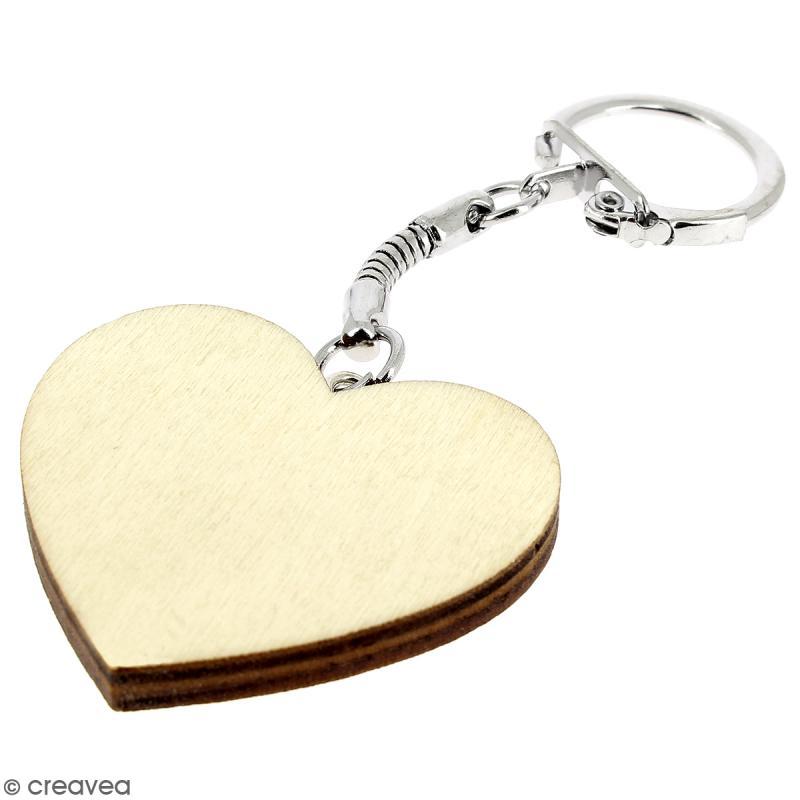 Porte clés Coeur en bois à décorer - Photo n°4