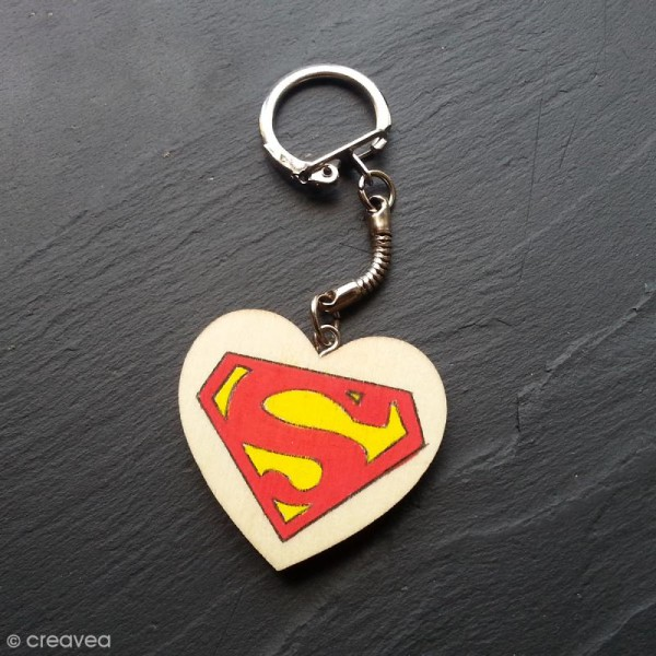 Porte clés Coeur en bois à décorer - Photo n°2
