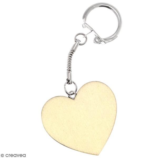 Porte clés Coeur en bois à décorer - Photo n°1