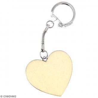 Porte clés Coeur en bois à décorer