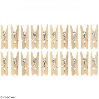 Mini pinces à linge en Bois brut - 2,5 cm - 20 pcs