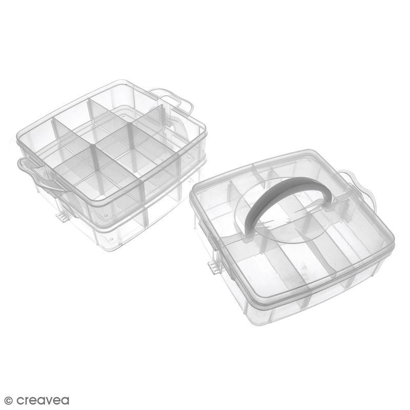Boîte de rangement à étages - 17 x 15 x 12,5 cm - 18 cases - Photo n°2