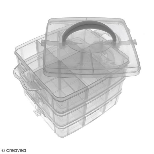 Boîte de rangement à étages - 17 x 15 x 12,5 cm - 18 cases - Photo n°1