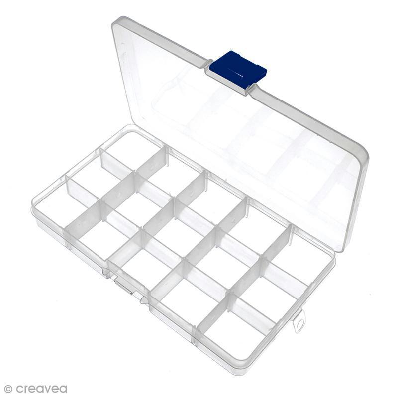 Boîte de rangement en plastique - 17,5 x 10,5 x 2 cm - 15 cases - Photo n°2