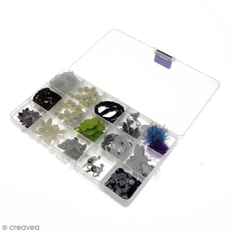 Boîte de rangement en plastique - 17,5 x 10,5 x 2 cm - 15 cases - Photo n°5