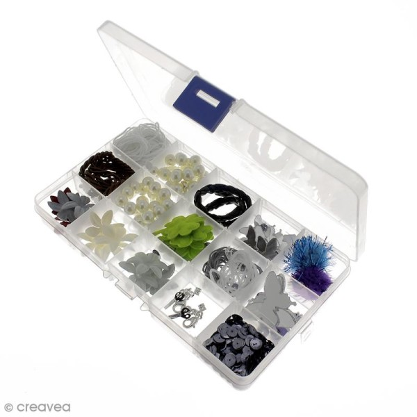 Boîte de rangement en plastique - 17,5 x 10,5 x 2 cm - 15 cases - Photo n°4