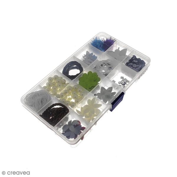 Boîte de rangement en plastique - 17,5 x 10,5 x 2 cm - 15 cases - Photo n°6