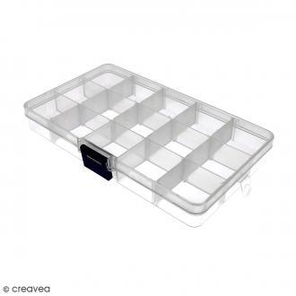 Boîte de rangement en plastique - 17,5 x 10,5 x 2 cm - 15 cases