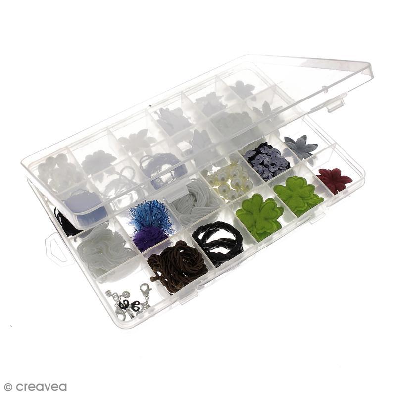 Boîte de rangement en plastique - 21 x 14 x 2,5 cm - 24 cases - Photo n°5