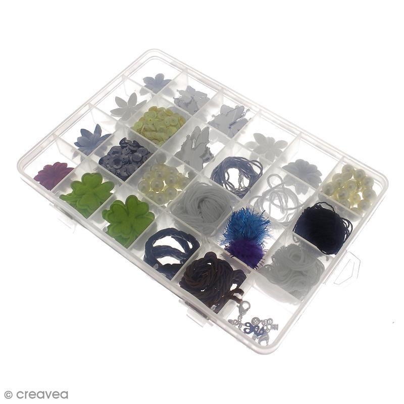 Boîte de rangement en plastique - 21 x 14 x 2,5 cm - 24 cases - Photo n°6