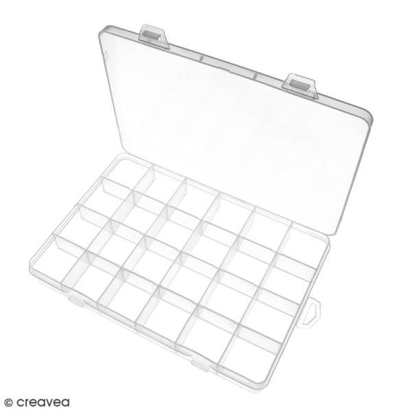 Boîte de rangement en plastique - 21 x 14 x 2,5 cm - 24 cases - Photo n°2