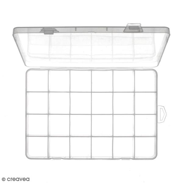 Boîte de rangement en plastique - 21 x 14 x 2,5 cm - 24 cases - Photo n°3