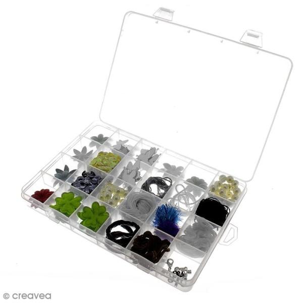 Boîte de rangement en plastique - 21 x 14 x 2,5 cm - 24 cases - Photo n°4