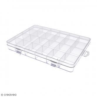 Boîte de rangement en plastique - 21 x 14 x 2,5 cm - 24 cases