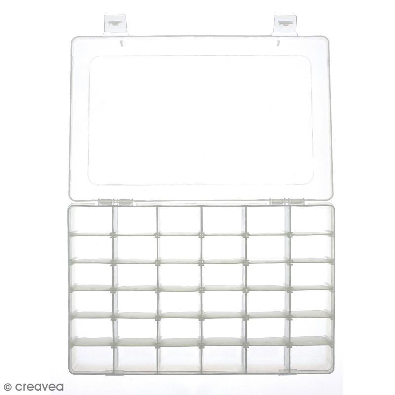 Boîte de rangement en plastique - 27,5 x 18 x 4,5 cm - 36 cases - Photo n°3