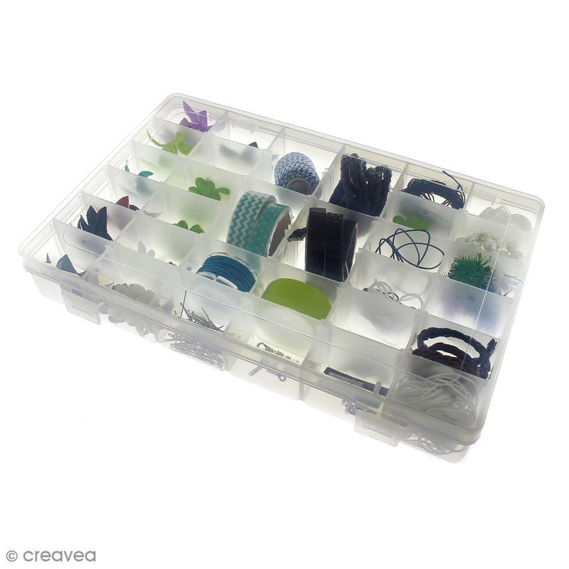 Boîte de rangement en plastique - 27,5 x 18 x 4,5 cm - 36 cases - Photo n°5