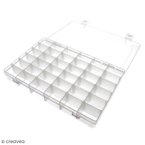 Boîte de rangement en plastique - 27,5 x 18 x 4,5 cm - 36 cases - Photo n°2