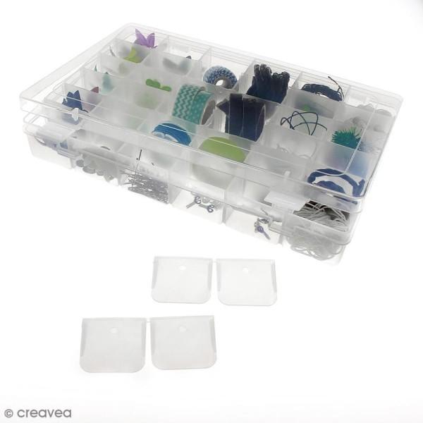 Boîte de rangement en plastique - 27,5 x 18 x 4,5 cm - 36 cases - Photo n°4
