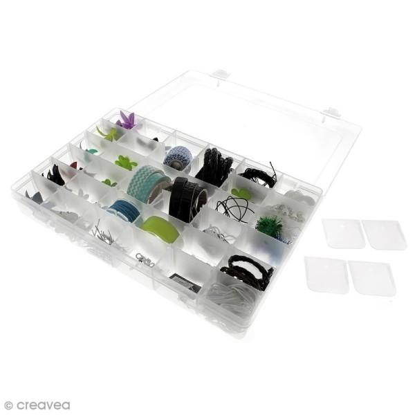 Boîte de rangement en plastique - 27,5 x 18 x 4,5 cm - 36 cases - Photo n°6