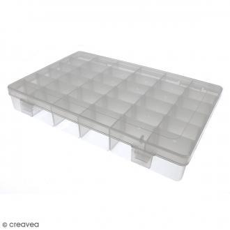 Boîte de rangement en plastique - 27,5 x 18 x 4,5 cm - 36 cases