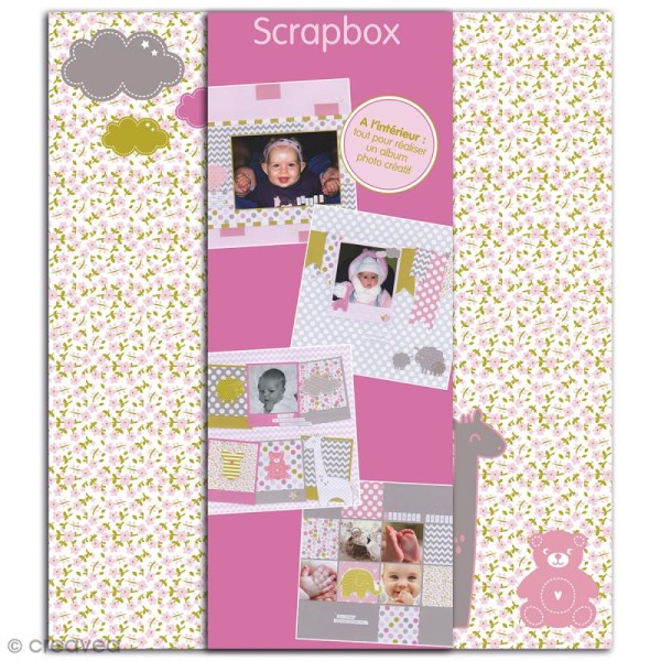 Kit scrapbooking Scrapbox - Naissance Fille - Photo n°1