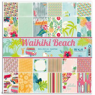Papier scrapbooking Waikiki Beach - 6 feuilles - 30,5 x 30,5 cm - Recto Verso