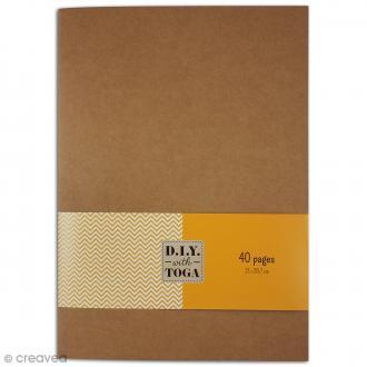 Cahier couverture kraft - 21 x 29,7 cm - 40 pages blanches lignées