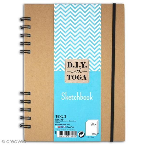 Sketchbook kraft à décorer 15 x 21 cm - 80 pages de dessin blanches - Photo n°1