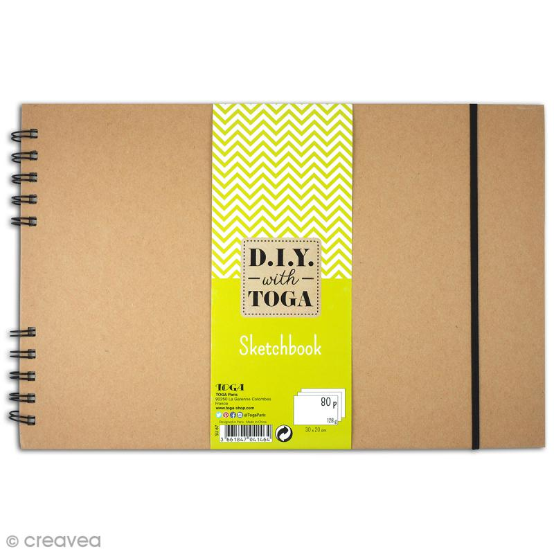 Sketchbook kraft à décorer 30 x 20 cm - 80 pages de dessin blanches - Photo n°1