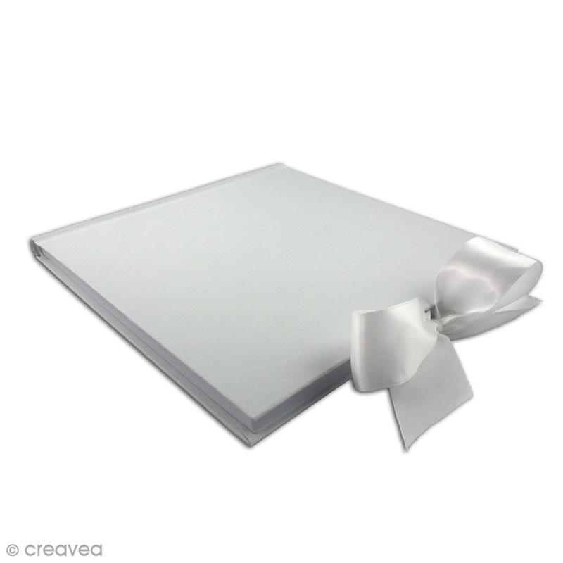 Livre d'or carré à décorer - Blanc - 20 x 20 cm - Photo n°2