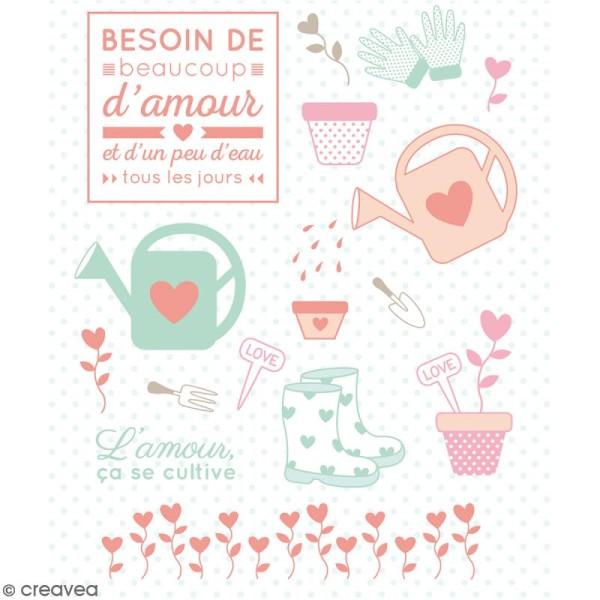 Tampons transparents Artemio - Motifs Amour Jardin - 16 pcs - Photo n°2