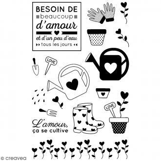 Tampons transparents Artemio - Motifs Amour Jardin - 16 pcs