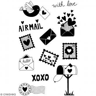 Tampons transparents Artemio - Motifs Amour Postal - 12 pcs