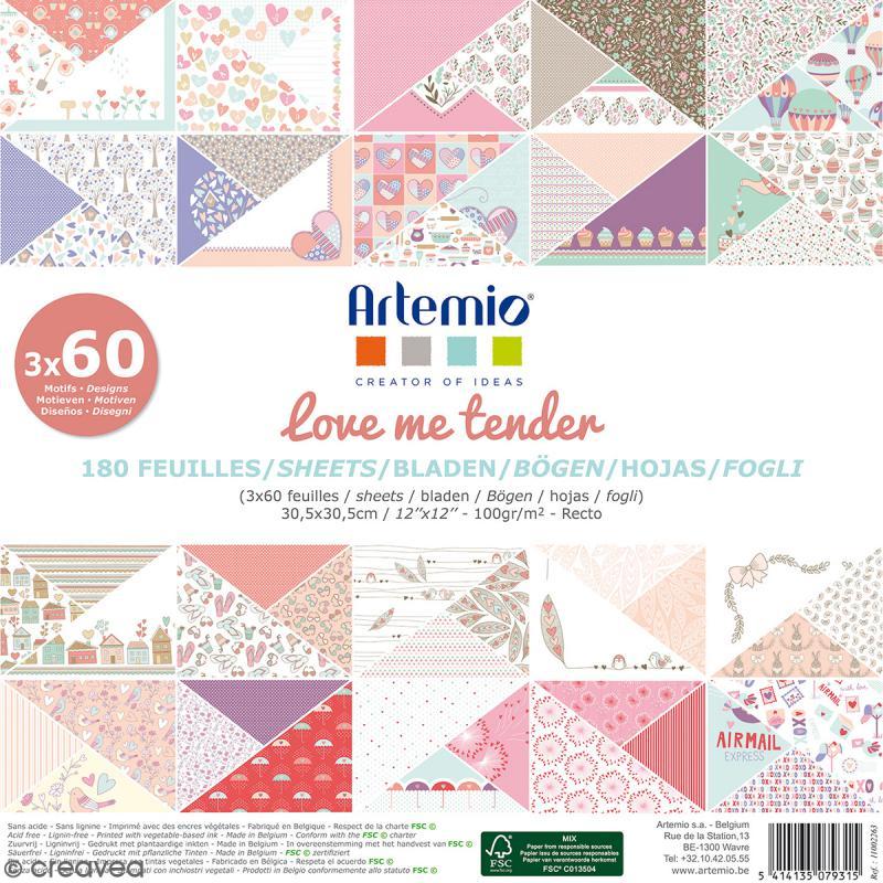 Papier scrapbooking Artemio - Love Me Tender - 30,5 x 30,5 cm - 180 feuilles - Photo n°1