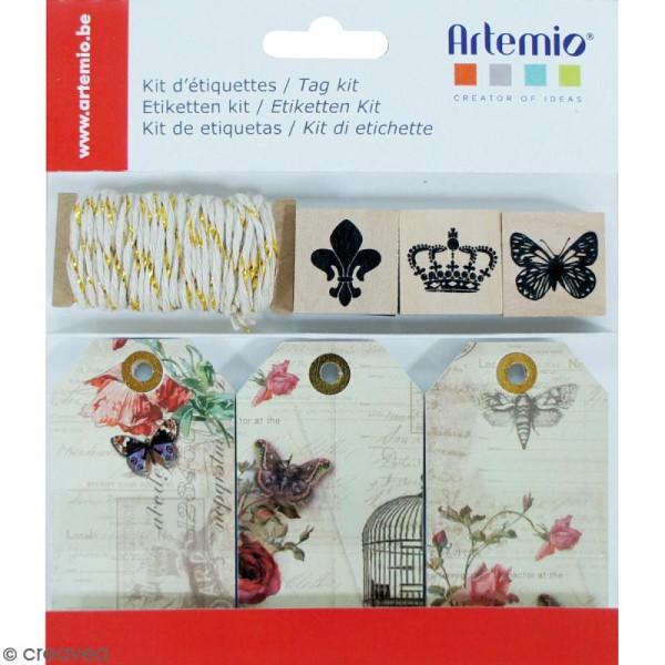 Kit étiquettes et tampons - Collage - 34 pcs - Photo n°1