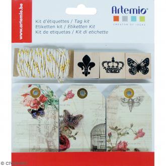Kit étiquettes et tampons - Collage - 34 pcs