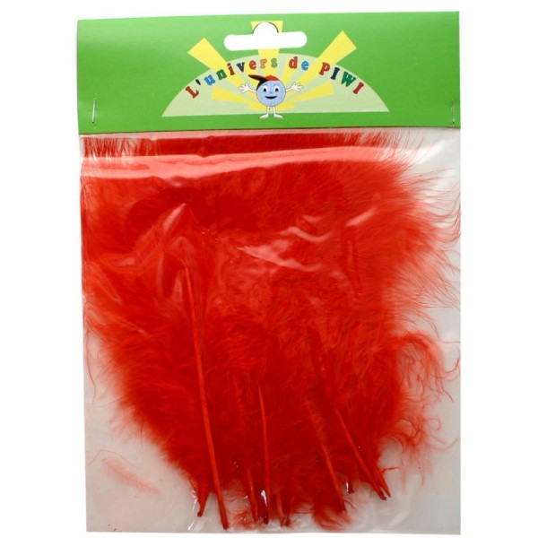 Plumes marabout rouge 15 cm x 10 plumes - Photo n°1