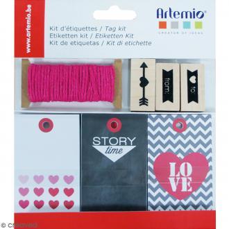 Kit étiquettes et tampons - Love - 34 pcs