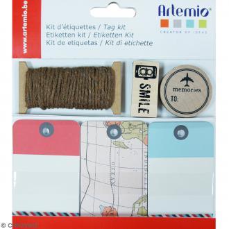 Kit étiquettes et tampons - Voyage - 34 pcs