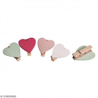 Pince à linge en bois - Coeur - 3,5 x 3,5 cm - 8 pcs