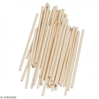 Bâtonnets ronds en bois 10 x 0,4 cm - 60 pcs environ