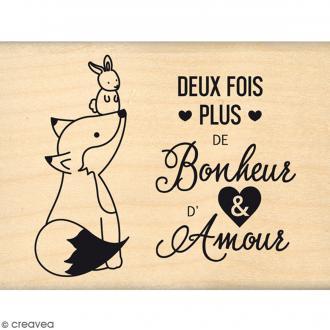 Tampon bois Plus de bonheur et d'amour - 8 x 5,8 cm